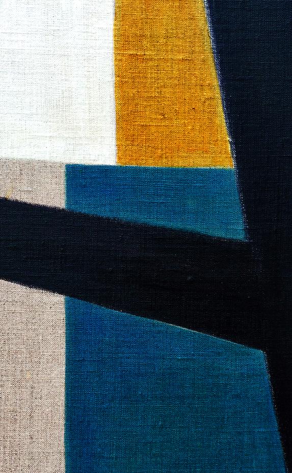 3- Composition animale, détrempe l'oeuf sur toile marouflée sur bois, détail, 250-120 cm
