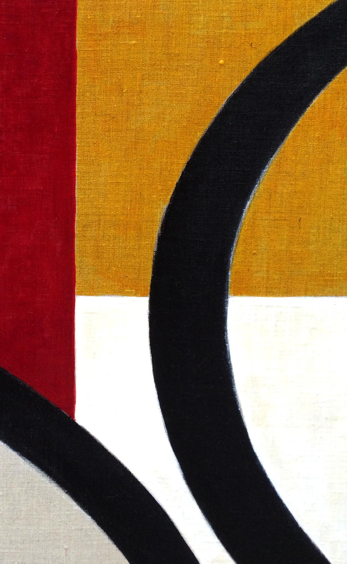 4- Composition animale, détrempe l'oeuf sur toile marouflée sur bois, détail, 250-120 cm