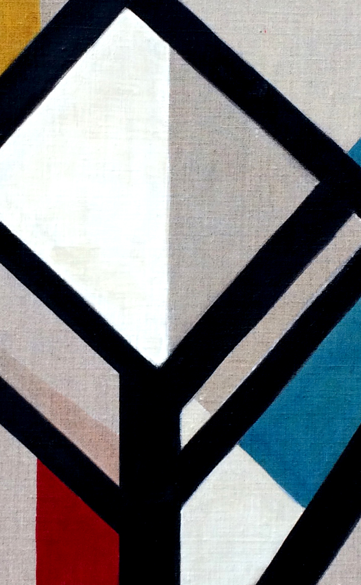 5- Composition animale, détrempe l'oeuf sur toile marouflée sur bois, détail, 250-120 cm